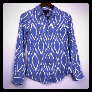 Trippy southwestern pattern on a chambre shirt.